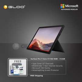 Microsoft Surface Pro 7 Core i7/16G RAM - 512GB Black - VAT-00025 + Surface Pro Type CoverLT Charcoal + Bitdenfender 1 Year Internet Security + Microsoft 365 Family (ESD) + Amazingthing Screen Protector