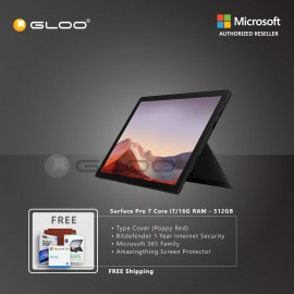 Microsoft Surface Pro 7 Core i7/16G RAM - 512GB Black - VAT-00025 + Surface Pro Type Cover Poppy Red + Bitdenfender 1 Year Internet Security + Microsoft 365 Family (ESD) + Amazingthing Screen Protector