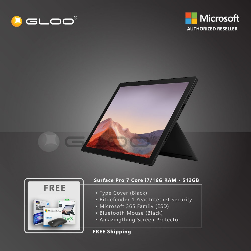Microsoft Surface Pro 7 Core i7/16G RAM - 512GB Black - VAT-00025 + Surface Pro Type Cover Black + Bitdenfender 1 Year Internet Security + Microsoft 365 Family (ESD) + Mobile Mouse Black + Amazingthing Screen Protector