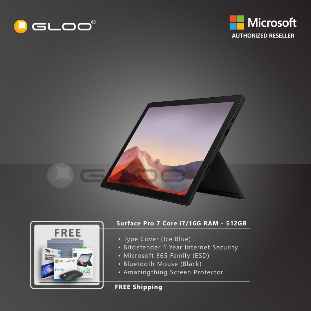 Microsoft Surface Pro 7 Core i7/16G RAM - 512GB Black - VAT-00025 + Surface Pro Type Cover Ice Blue + Bitdenfender 1 Year Internet Security + Microsoft 365 Family (ESD) + Mobile Mouse Black + Amazingthing Screen Protector