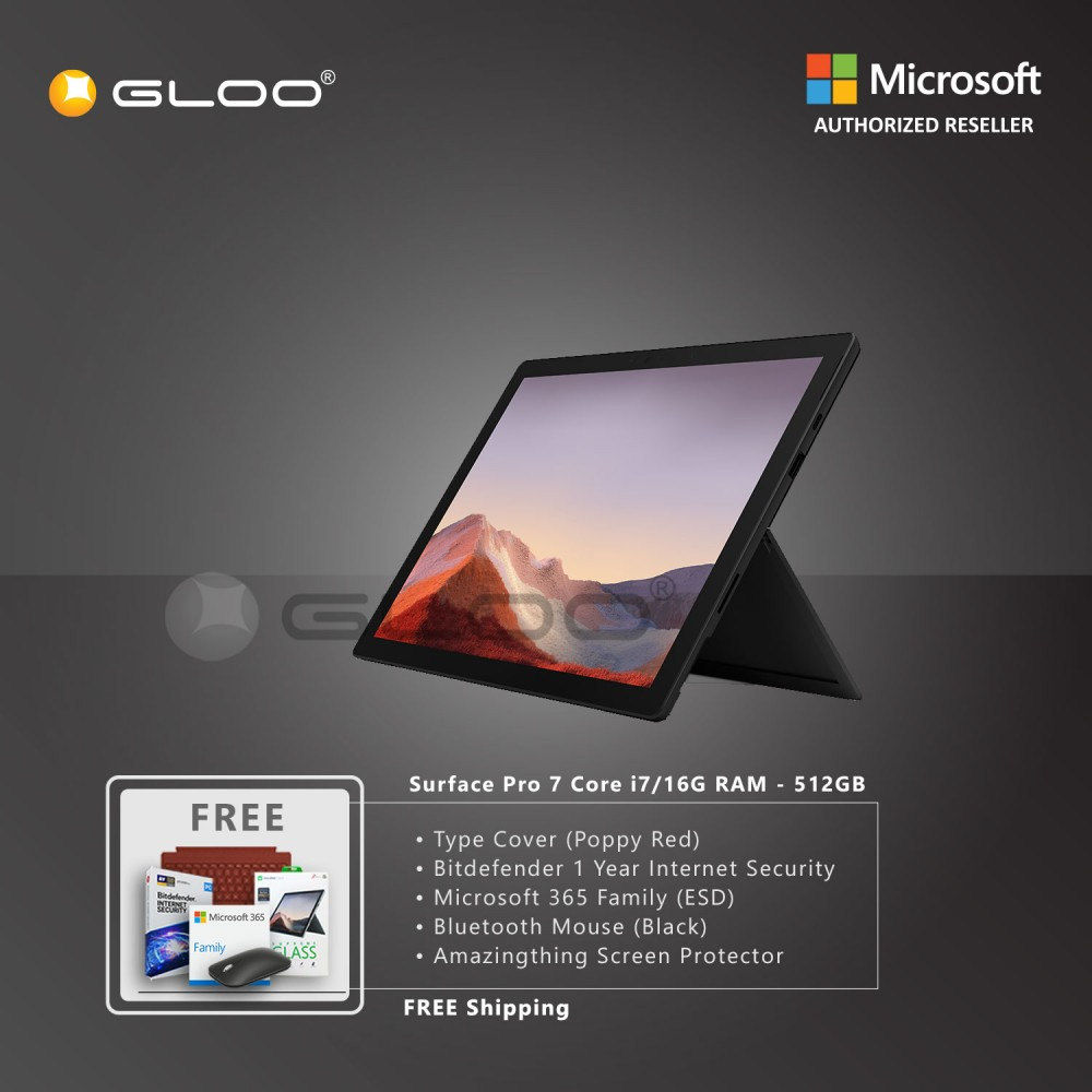 Microsoft Surface Pro 7 Core i7/16G RAM - 512GB Black - VAT-00025 + Surface Pro Type Cover Poppy Red + Bitdenfender 1 Year Internet Security + Microsoft 365 Family (ESD) + Mobile Mouse Black + Amazingthing Screen Protector