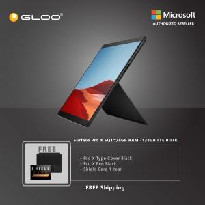 Microsoft Surface Pro X SQ1™/8GB RAM -128GB LTE Black + Pro X TC Black + Pro X Pen Balck + Shield Care 1 Year + F-Secure 1 Year