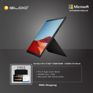 Microsoft Surface Pro X SQ1™/8GB RAM -128GB LTE Black + Pro X TC Black + Shield Care 1 Year + F-Secure 1 Year + Office 365 Home (ESD)