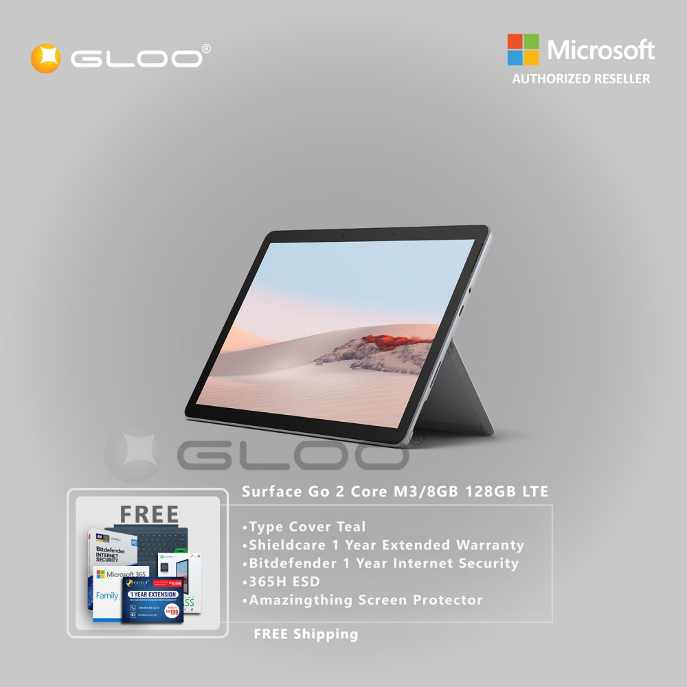Microsoft Surface Go 2 Core M3/8GB 128GB LTE + Surface Go Type Cover Teal + Shield Care 1 Year Extended Warranty+ Bitdefender 1 Year Internet Security+ 365H ESD + Amazingthing Screen Protector