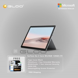 Microsoft Surface Go 2 Core M3/8GB 128GB LTE + Surface Go Type Cover Black + Shield Care 1 Year Extended Warranty+ Bitdefender 1 Year Internet Security+ 365H ESD + Amazingthing Screen Protector