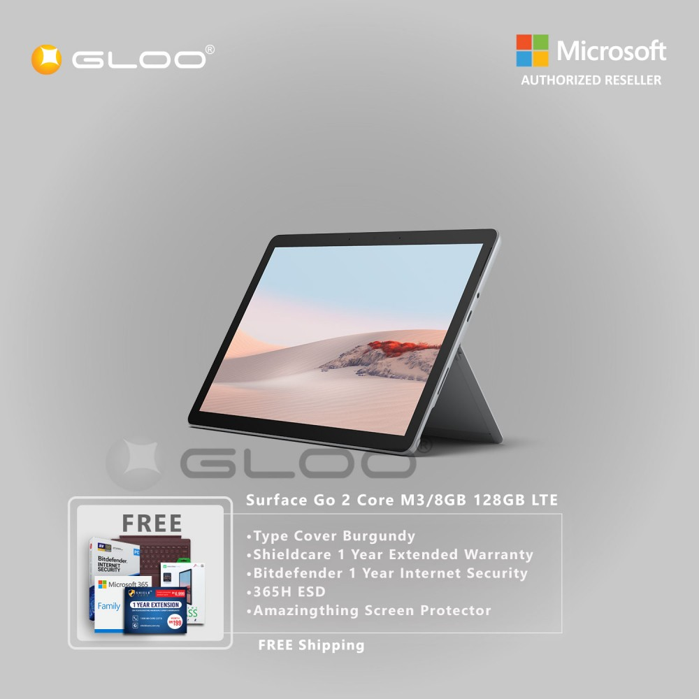 Microsoft Surface Go 2 Core M3/8GB 128GB LTE + Surface Go Type Cover Burgundy + Shield Care 1 Year Extended Warranty+ Bitdefender 1 Year Internet Security+ 365H ESD + Amazingthing Screen Protector