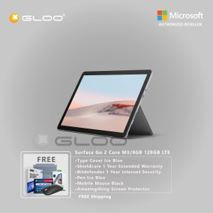 Microsoft Surface Go 2 Core M3/8GB 128GB LTE + Surface Go Type Cover Ice Blue + Shield Care 1 Year Extended Warranty+ Bitdefender 1 Year Internet Security+ Pen Ice Blue + Mobile Mouse Black + Amazingthing Screen Protector