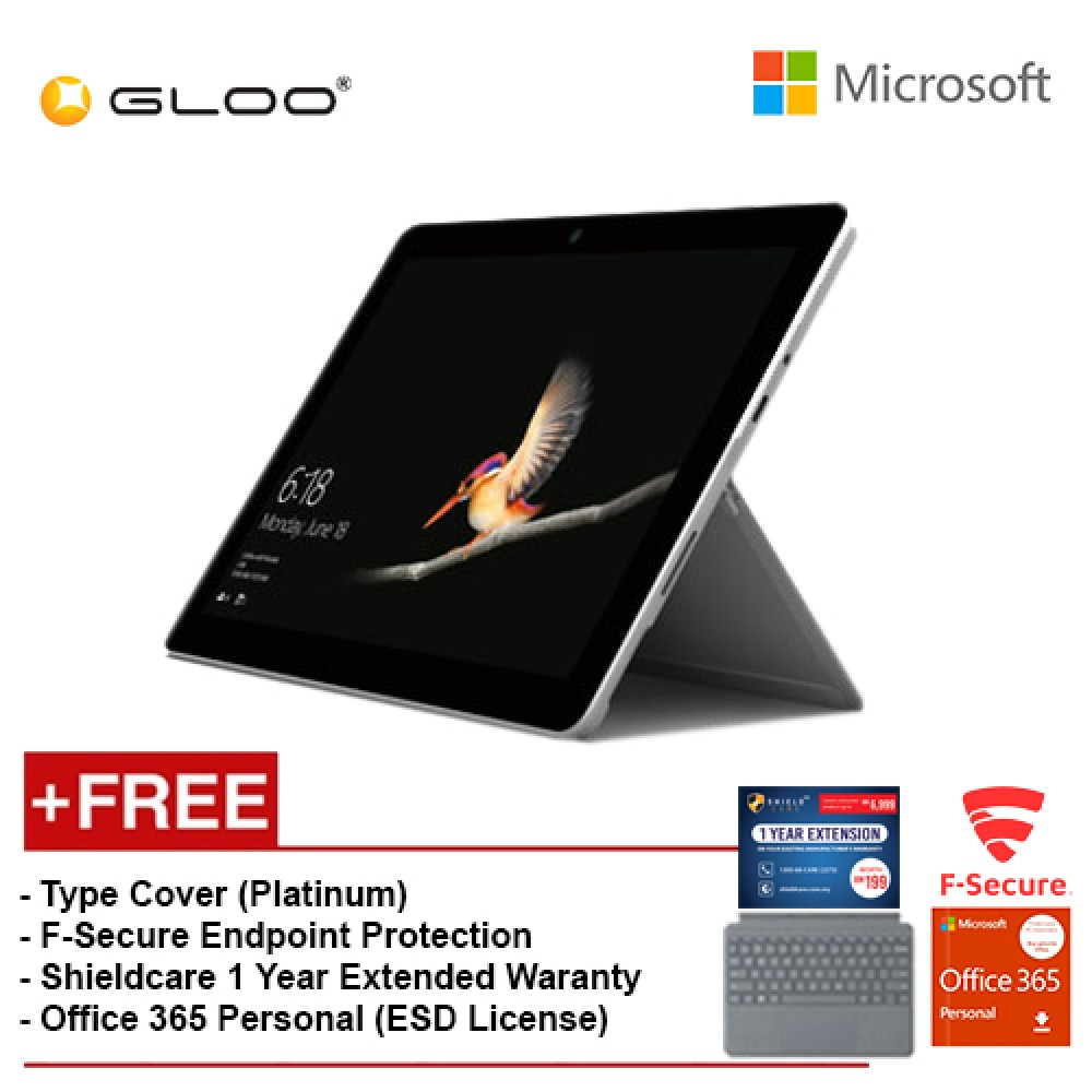 Surface Go Y/8GB 128GB + Surface Go Type Cover Platinum + Shieldcare 1 Year Extended Warranty + F-Secure End point Protection + Office 365 Personal (ESD License)