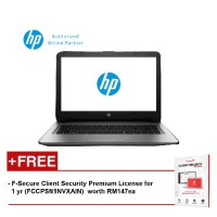"HP 14-af106AX V5D27PA 14"" HD (AMD, 2GB, 500GB, AMD R5, W10) - Silver [FREE F-Secure Client Security Premium License for 1 yr (FCCPSN1NVXAIN)  worth RM147ea]"