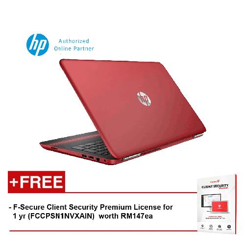 HP Pavilion 15-au105TX Laptop (i7-7500U, 4GB, 1TB, NV 2GB, W10) - Red [FREE F-Secure Client Security Premium License for 1 yr (FCCPSN1NVXAIN) worth RM147ea]