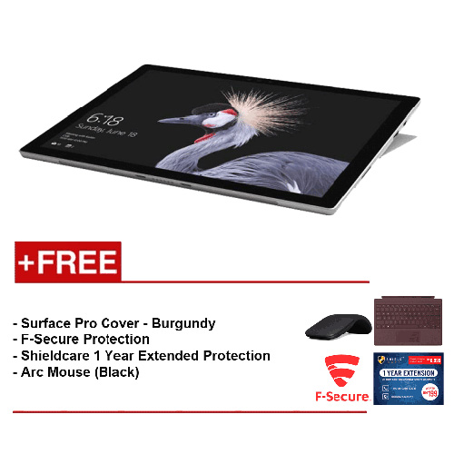 NEW Microsoft Surface Pro - Core i5 8G/256GB Free Surface Pro Type Cover (Burgundy) + Shieldcare 1 Year Extended Warranty + F-Secure EndPoint Protection + Arc Mouse (Black)