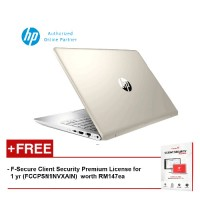 HP 14-bf104TX 2LS72PA 14 FHD (i7-8550, 4GB, 1TB, NV 4GB, W10) - Silk Gold [FREE F-Secure Client Security Premium License for 1 yr (FCCPSN1NVXAIN)  worth RM147ea]