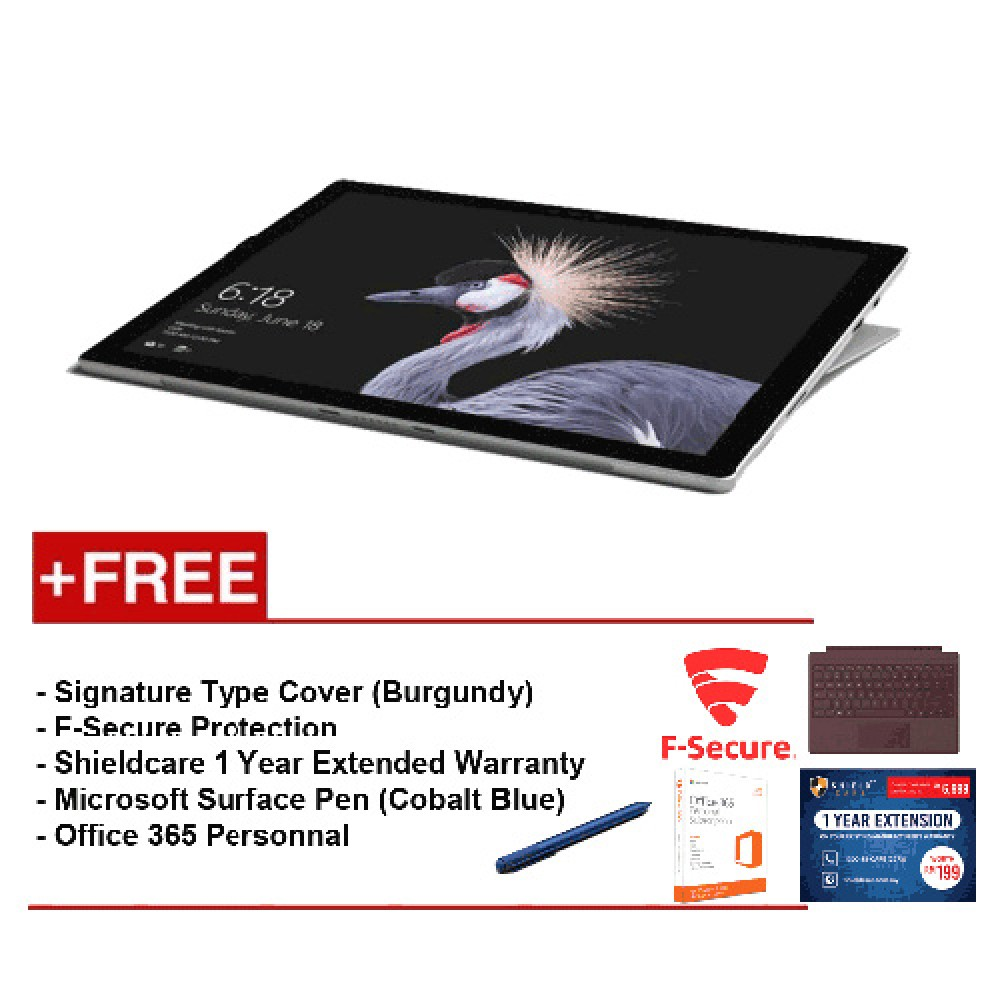 NEW Microsoft Surface Pro-Core i58G / 256GB Free Surface Pro Type Cover (Burgundy) + Shield care 1 Year Extended Warranty + F-Secure End Point Protection + Office 365 Personal + Microsoft Surface Pen (Cobalt Blue)