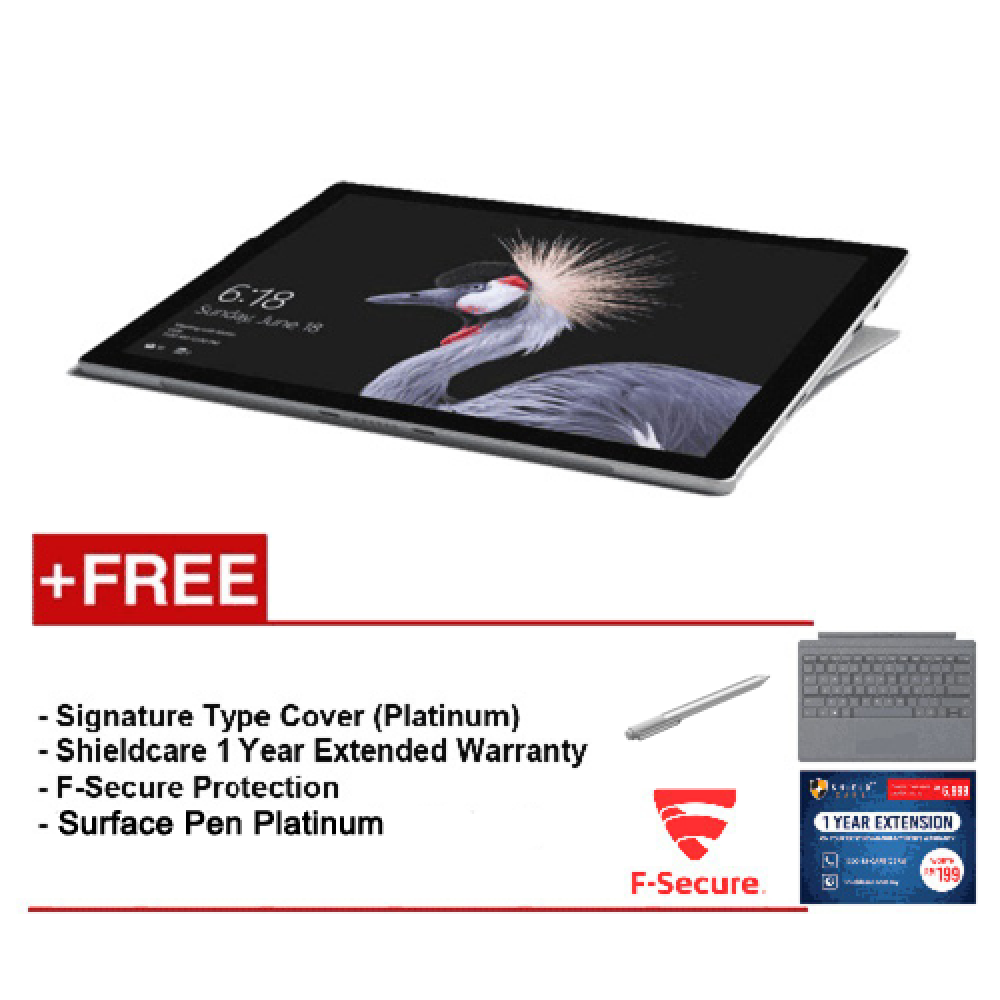 NEW Microsoft Surface Pro-Core i5 8G/256GB Free Surface Pro Type Cover (Platinum) + Shieldcare 1 Year Extended Warranty + F-Secure End Point Protection + Microsoft Surface Pen (Platinum)
