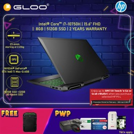 """NEW HP Pavilion Gaming Laptop 15-dk1133TX 15.6"""" FHD (i7-10750H, 512GB SSD+32GB 3D Xpoint, 8GB, NVIDIA GTX 1660Ti Max-Q 6GB, W10H) - Black [FREE] HP Pavilion Backpack (Grab/Touch & Go credit redemption : 1/2-28/4*)"""