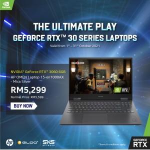 "HP OMEN Gaming Laptop 15-en1000AX 15.6"" FHD (AMD Ryzen 5 5600H, 512GB SSD, 8GB, NVIDIA GeForce RTX 3060 6GB, W10H) - Black [FREE] HP Omen Backpack (Grab/Touch & Go credit redemption : 1/8-31/10*)"