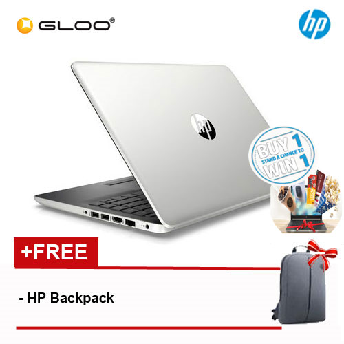 "HP 14s-cf1026TX 14"" FHD Notebook (i7-8565U, 1TB, 4GB, AMD Radeon 530 2GB, W10) - Silver [FREE] HP Backpack"