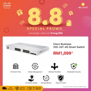 Cisco Business CBS250-24T-4G-UK Smart Switch (24 Port GE, 4x1G SFP, Limited Lifetime Protection) [Use GLOOCISCOW to get RM140 off]
