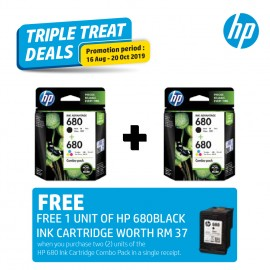 [2 Units] HP 680 Combo Pack Black/Tri-color Original Ink Advantage Cartridge X4E78AA [FREE] 1 Unit HP 680 Black or Color Ink Cartridge worth RM37*
