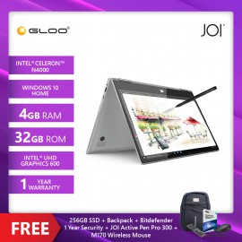 """JOI Book Touch 300 SV-CL300 Cel N4000,4+32GB, 13.3"""" FHD, W10 Home, Silver {Free 256GB SSD + JOI Active Pen Pro 300 + Backpack (Random color) + Bitdefender 1Yr + Wireless Mouse}"""