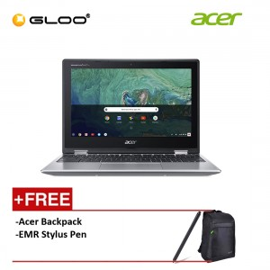 """Acer Chromebook Spin 11 CP311-1HN-C6GV 11.6"""" HD 2 in 1 Laptop (Celeron N3450, 64GB, 8GB, Intel HD Graphics 500, Chrome OS) - Silver [FREE] Acer Backpack + EMR Stylus Pen [Use CHROME50 to get RM50 off during checkout]"""
