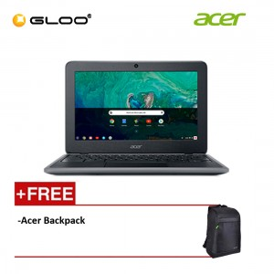 """Acer Chromebook 11 C733-C8R2 11.6"""" HD Laptop (Celeron N4100, 32GB, 4GB, Intel HD Graphics 500, Chrome OS) - Black [FREE] Acer Backpack [Use CHROME50 to get RM50 off during checkout]"""