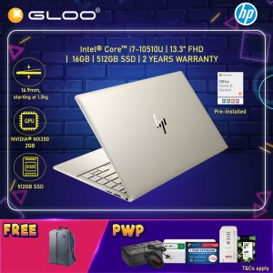 """NEW HP Envy Laptop 13-ba0008TX 13.3"""" FHD (i7-10510U, 512GB SSD, 16GB, NVIDIA MX350 2GB, W10) - Gold [FREE] HP Backpack + Pre-Installed with Microsoft Office Home and Student"""
