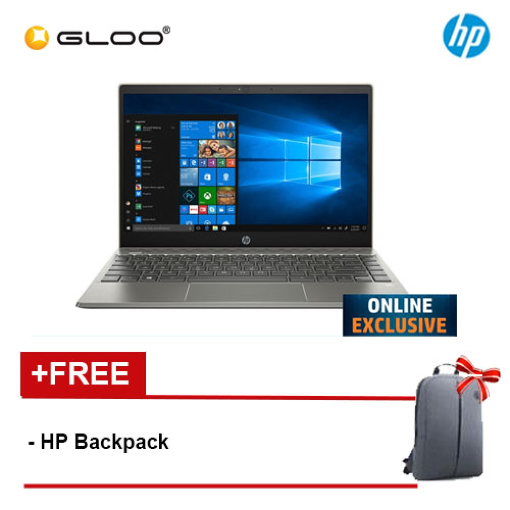 "*ONLINE EXCLUSIVE* NEW HP Pavilion 13-an0057TU 13.3"" HD Laptop (i3-8145U, 256GB SSD, 4GB, Intel UHD Graphics 620, W10) - Silver [FREE] HP Backpack"