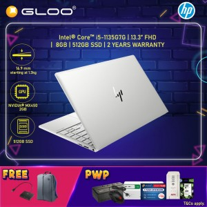 """NEW HP Envy Laptop 13-ba1010TX 13.3"""" FHD (i5-1135G7, 512GB SSD, 8GB, NVIDIA MX450 2GB, W10) - Silver [FREE] HP Backpack + HP USB-C to Multi-port Hub (Grab/Touch & Go credit redemption : 21/11/20-31/1/21*)"""