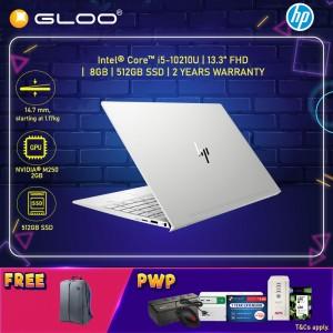 "HP Laptop ENVY 13-aq1001TX 13.3"" FHD (i5-10210, 512GB SSD, 8GB, NVIDIA MX250 2GB, W10) - Silver [FREE] HP Backpack"
