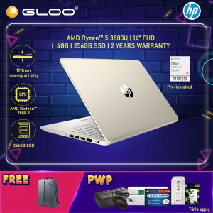 """NEW HP Laptop 14s-dk0169AU 14"""" FHD (AMD Ryzen 5 3500U, 256GB SSD, 4GB, AMD Radeon Vega 8, W10) - Gold [FREE] HP Backpack + Pre-Installed with Microsoft Office Home and Student"""