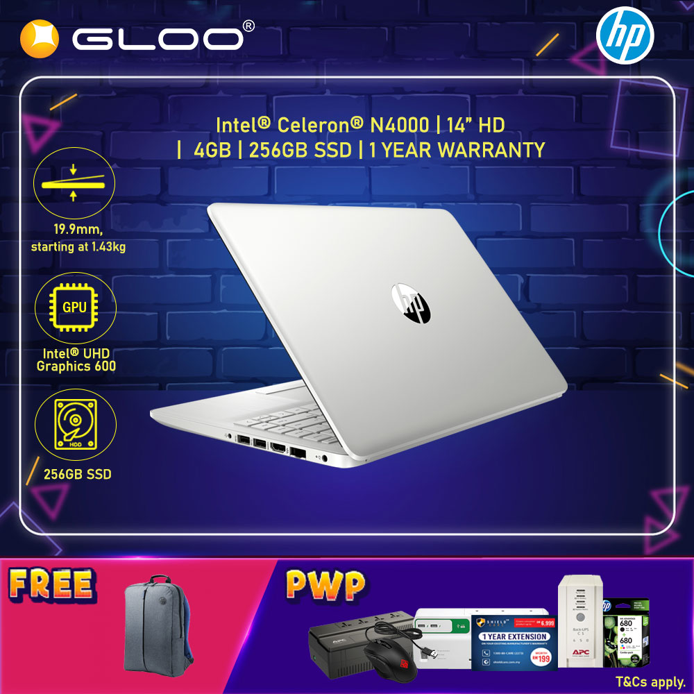 "NEW HP 14s-cf0064TU 14"" HD Laptop (Celeron N4000, 256GB, 4GB, Intel HD, W10) - Silver [FREE] HP Backpack"