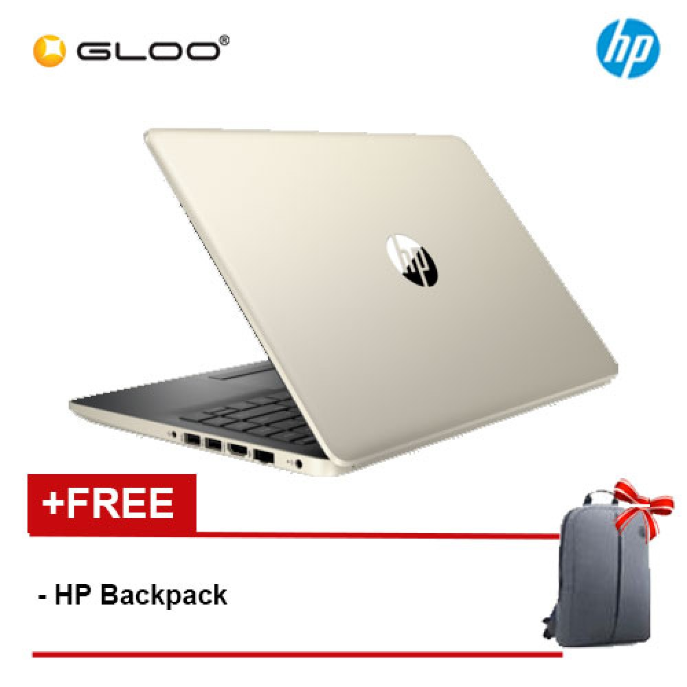 "NEW HP 14s-cf0066TU 14"" HD Laptop (i3-7020U, 1TB, 4GB, Intel HD, W10) - Gold [FREE] HP Backpack"