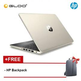 "NEW HP 14s-cf0068TX 14"" HD Laptop (i3-7020U, 1TB, 4GB, AMD Radeon 530 2GB, W10) - Gold [FREE] HP Backpack"