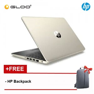 "NEW HP 14s-cf1027TX 14"" FHD Laptop (i7-8565U, 1TB, 4GB, AMD Radeon 530 2GB, W10) - Gold [FREE] HP Backpack"
