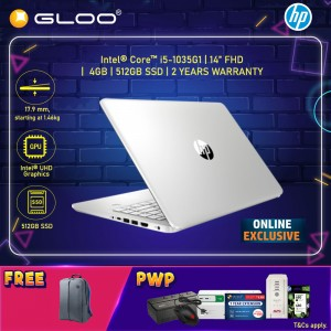 """[ONLINE EXCLUSIVE] NEW HP Laptop 14s-dq1029TU 14"""" FHD (i5-1035G1, 512GB SSD, 4GB, Intel UHD Graphics, W10) - Silver [FREE] HP Backpack (Stay Safe with Intel : Complimentary 1 Box Face Mask until 30th Sept*)"""