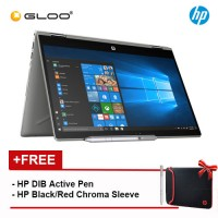 "NEW HP Pavilion x360 14-cd1059TX 14"" FHD 2 in 1 Laptop (i5-8265U, 256GB, 4GB, Nvidia MX130 2GB, W10) - Mineral Silver [FREE] HP Black/Red Chroma Sleeve + HP DIB Active Pen"