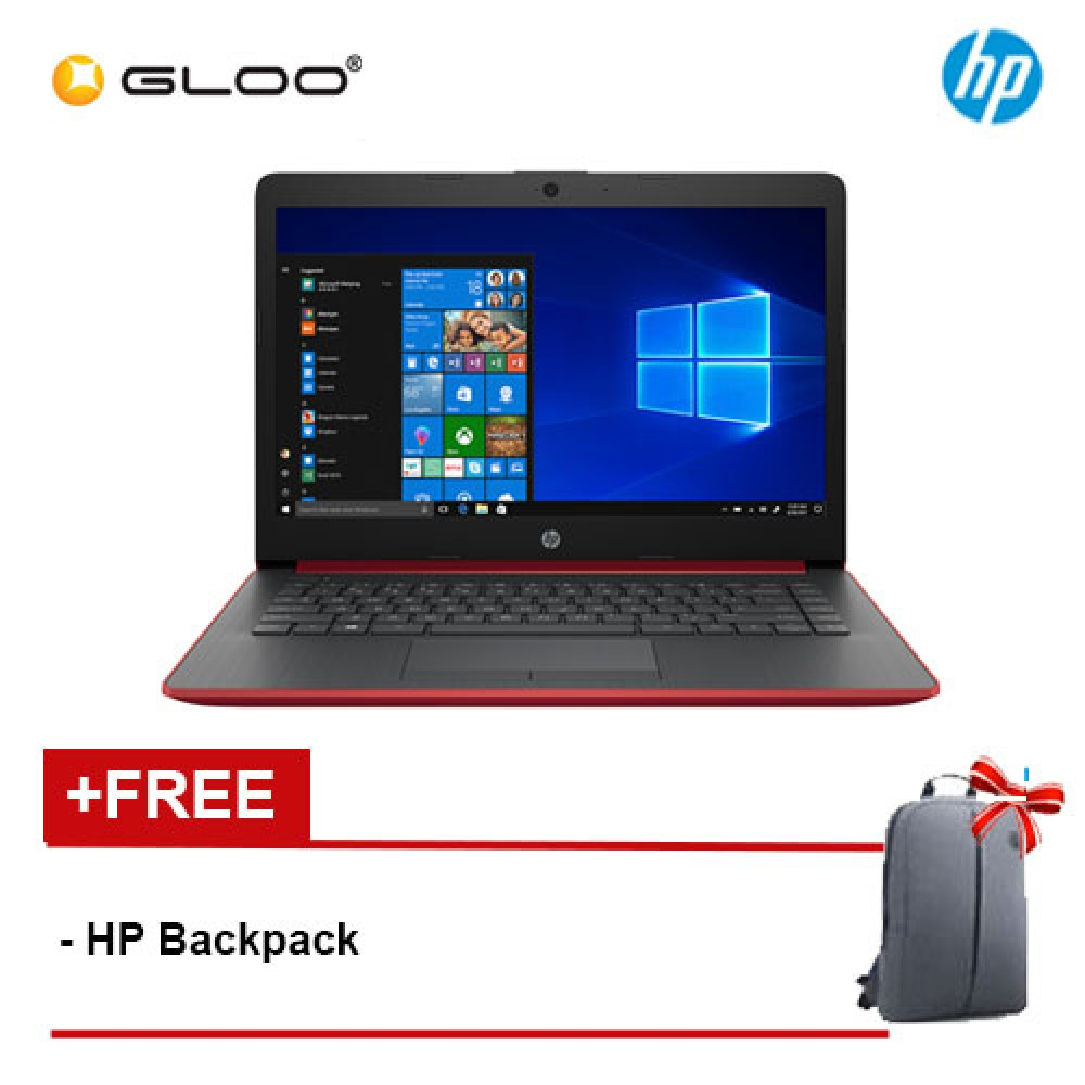 "NEW HP 14-cm0119AU 14"" HD Laptop (A4-9125, 128GB SSD, 4GB, AMD Radeon R3, W10) - Red [FREE] HP Backpack"