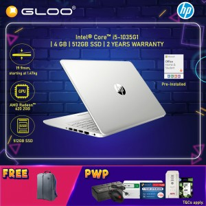 """NEW HP Laptop 14s-cf3022TX 14"""" FHD (i5-1035G1, 512GB SSD, 4GB, AMD Radeon 620 2GB, W10) - Gold [FREE] HP Backpack + Pre-Installed with Microsoft Office Home and Student"""