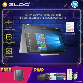 """NEW HP Pavilion x360 14-dh1058TX 14"""" FHD Touch Screen 2 In 1 (i3-10110U, 256GB SSD, 4GB, NVIDIA MX130 2GB, W10H) - Silver [FREE] HP Backpack + HP DIB Pen + Microsoft Office Home & Student (Stay Safe with Intel : Complimentary  Face Mask*)"""