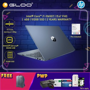 """NEW HP Pavilion Laptop 15-cs3137TX 15.6"""" FHD (i7-1065G7, 512GB SSD, 4GB, NVIDIA MX250 4GB, W10) - Fog Blue [FREE] HP Backpack + Pre-Installed with Microsoft Office Home and Student"""