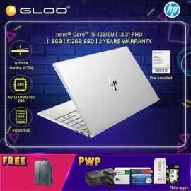 """NEW HP Envy Laptop 13-ba0007TX 13.3"""" FHD (i5-10210U, 512GB SSD, 8GB, NVIDIA MX350 2GB, W10) - Silver [FREE] HP Backpack + Pre-Installed with Microsoft Office Home and Student (Grab/Touch & Go credit redemption : 1/8-31/10*)"""