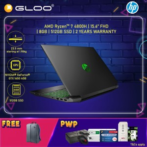 "NEW HP Pavilion Gaming Laptop 15-ec1060AX 15.6"" FHD (AMD Ryzen 7 4800H, 512GB SSD, 8GB, NVIDIA GTX 1650 4G, W10) - Shadow Black [FREE] HP Backpack"