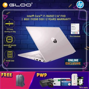 """[ONLINE EXCLUSIVE] NEW HP Pavilion Laptop 14-ce3074TX 14"""" FHD (i7-1065G7, 512GB SSD, 8GB, NVIDIA MX250 2GB, W10) - Pink [FREE] HP Backpack + Pre-Installed with Microsoft Office Home and Student"""