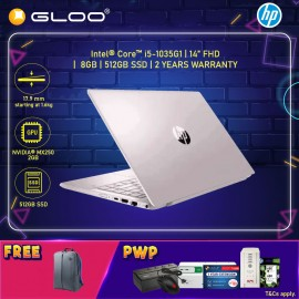 """[ONLINE EXCLUSIVE] NEW HP Pavilion Laptop 14-ce3079TX 14"""" FHD (i5-1035G1, 512GB SSD, 8GB, NVIDIA MX250 2GB, W10H) - Pink [FREE] HP Backpack + Pre-Installed with Microsoft Office Home and Student (Grab/Touch & Go credit redemption : 1/8-31/10*)"""