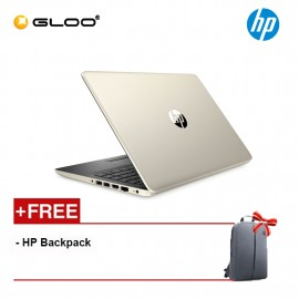 "HP Laptop 14s-cf2000TU 14"" HD (i3-10110U, 256GB SSD, 4GB, Intel UHD Graphics, W10) - Gold [FREE] HP Backpack"