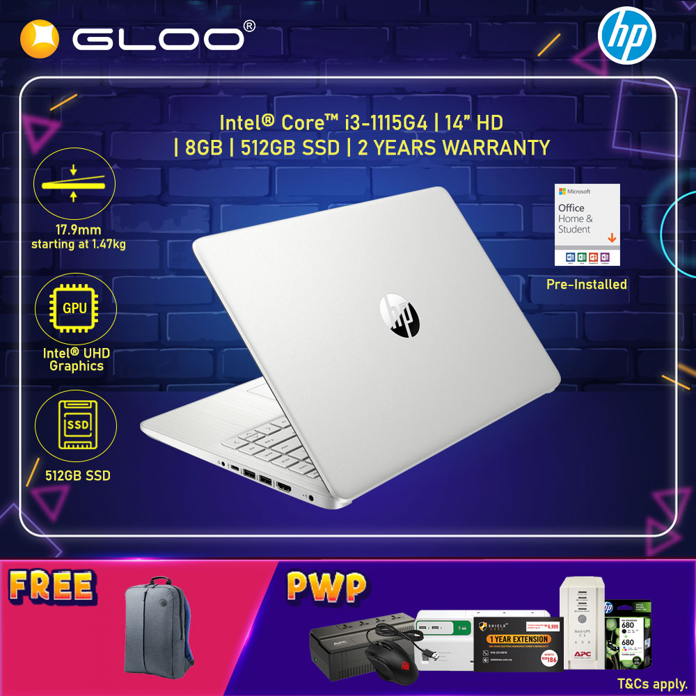 """NEW HP Laptop 14s-dq2509TU 14"""" HD (i3-1115G4, 512GB SSD, 8GB, Intel UHD Graphics, W10H) - Silver [FREE] HP Backpack + Pre-Installed Microsoft Office Home and Office"""