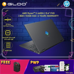 "NEW HP Omen Gaming Laptop 15-EN0049AX 15.6"" FHD (AMD Ryzen 5 4600H, 512GB SSD, 8GB, NVIDIA GTX 1650Ti 4GB, W10H) - Black [FREE] HP Omen Backpack (Grab/Touch & Go credit redemption : 21/11/20-31/1/21*)"