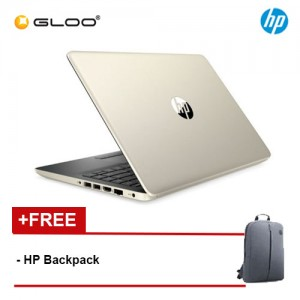"NEW HP 14s-dk0108AU 14"" FHD Laptop (AMD Ryzen 5 5300U, 256GB, 4GB, AMD Radeon Vega 8, W10) - Gold [FREE] HP Backpack + Complimentary Premium Merchandise Gift (C-Shaped Handle, Inverted Umbrella)*"