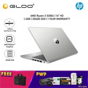 "HP Probook 245 G8 510H1PA Laptop 14"" HD (AMD Ryzen 3 5300U, 256GB SSD, 4GB, AMD Radeon Graphics, W10H) - Silver [FREE] HP TopLoad Carrying Case"